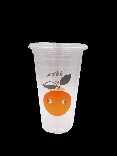 แก้วพลาสติก PP 22 ออนซ์ ปาก 95 เรียบลาย ส้มเสี่ยว