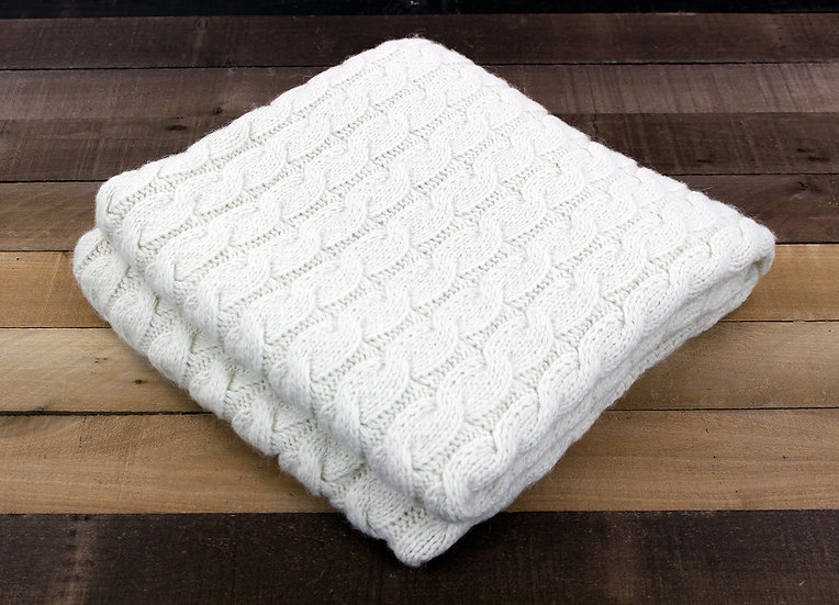 White Cable Knit Blanket