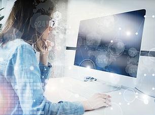 Woman Working Modern Desktop Monitor Han