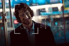 Facial recognition system, concept. Youn