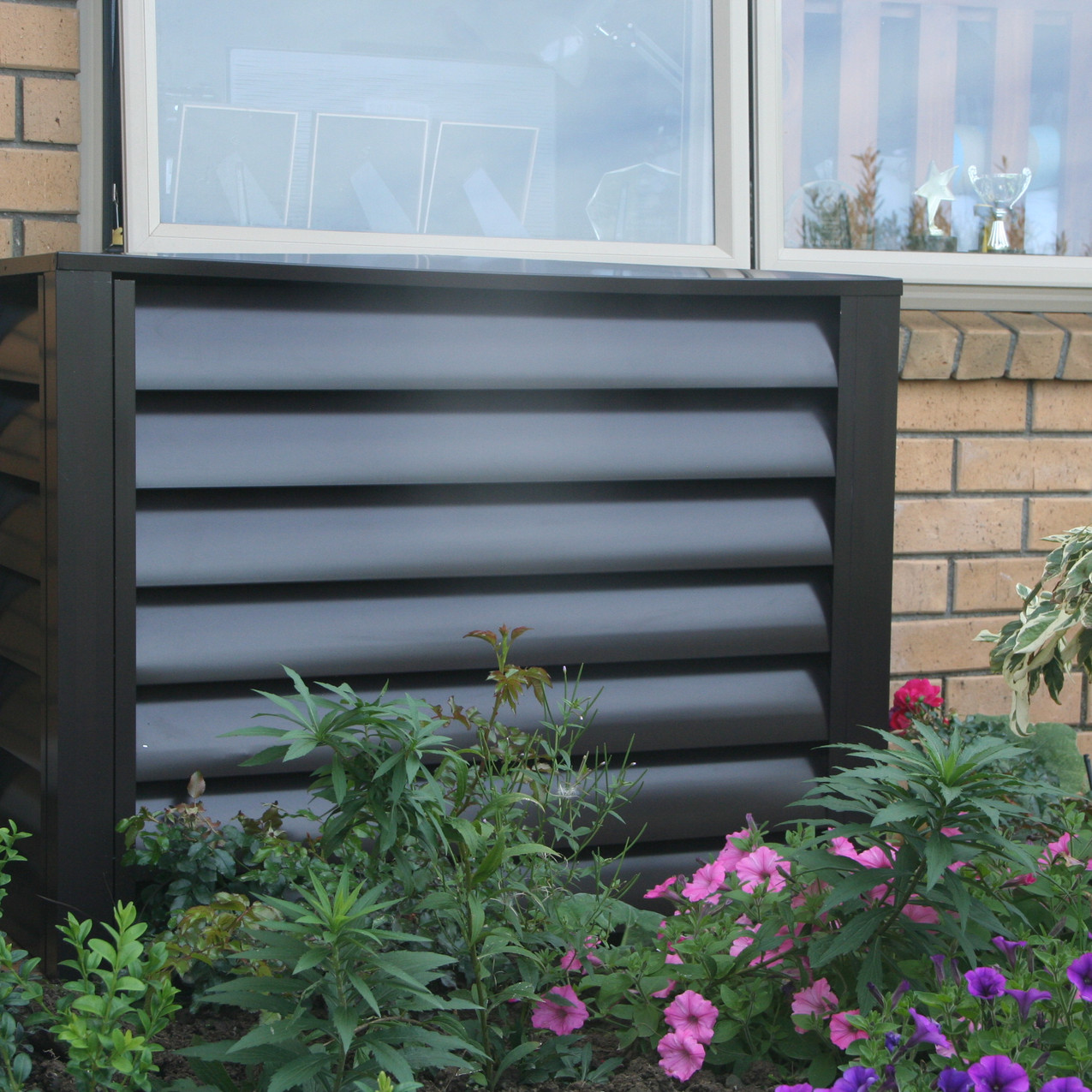 Heat Pump Cover in Brown Louvre