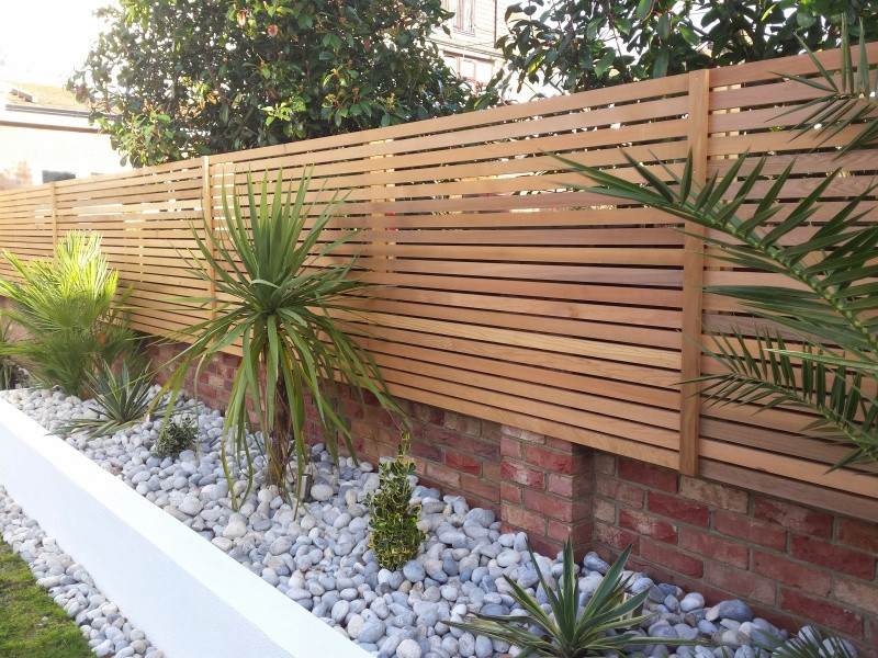 Fencing made of outdoor wood panels