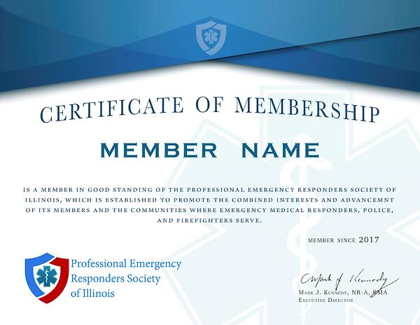Ems Illinois EMT association membership sertificate
