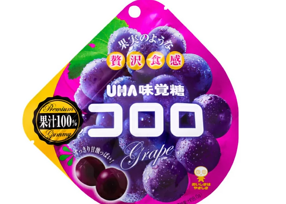 [UHA taste sugar] Kororo Grape (48g) 100% fruit juice, a great deal on 24 bags set