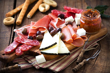 Cured meat and cheese platter of traditi