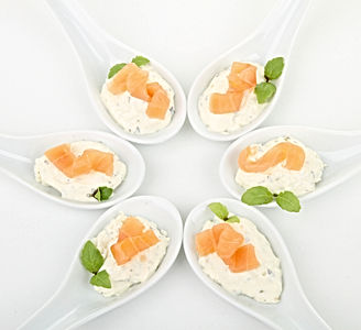 finger food, spoon with salmon and chees