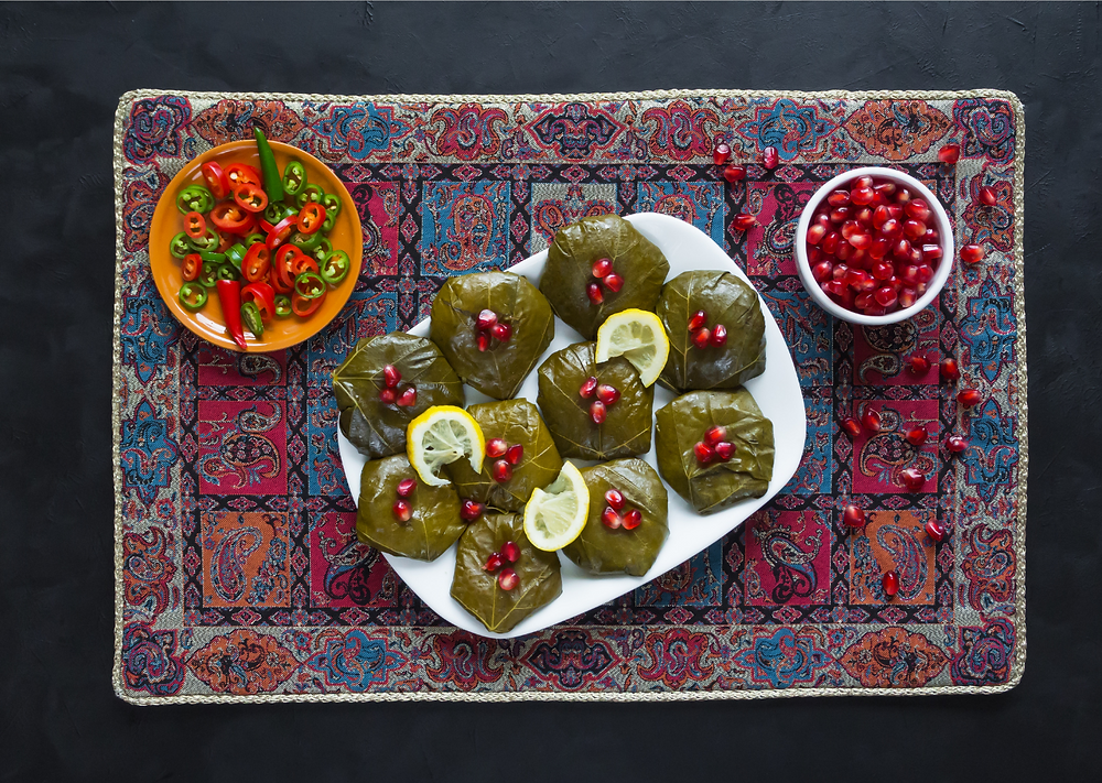 Iranians use lots of dried fruits such as plums, barberries, and aromatic herbs and spices like cardamom, cinnamon, and saffron in most main dishes.