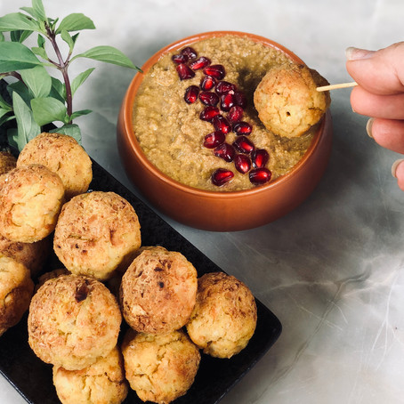 Crispy Potato And Split Peas Balls With Fesenjoon -Silky Walnut & Pomegranate