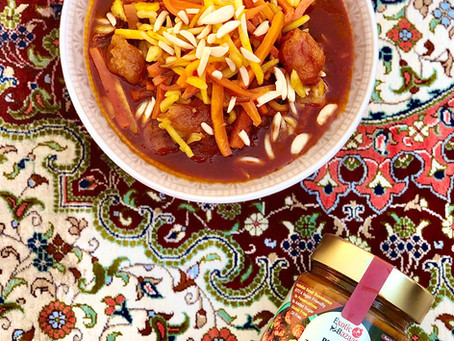 Persian carrot and almond stew (Khoresh havij Tabrizi)