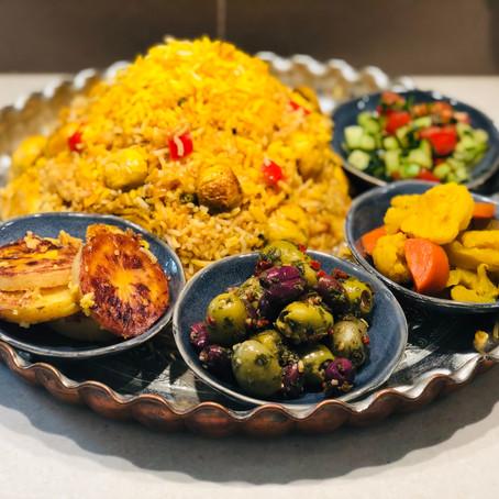 Loobia Polo - Green Bean Mix Rice with Potato Tahdig (Crust)