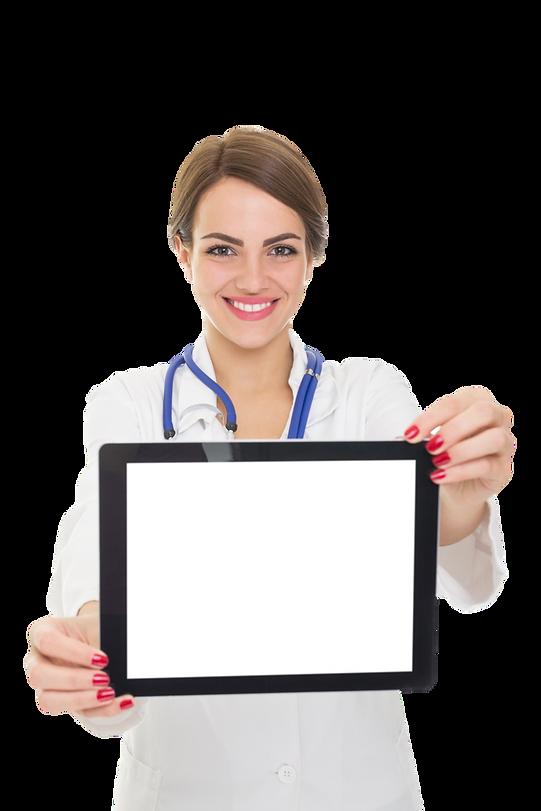 Médecin avec OneList sur tablette