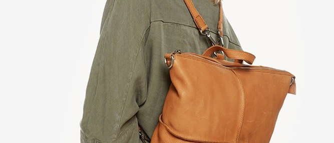 Beige/Sand convertible backpack