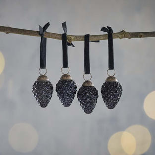 Dark glass baubles on velvet string