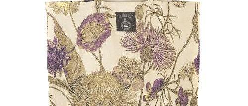 Cream/purple botanical bag