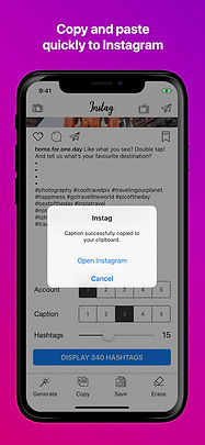 instag instagram social hashtag caption posts ios app iphone