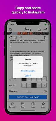instag instagram social hashtag caption posts ios app iphone