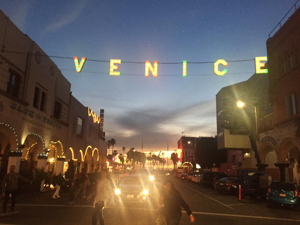 Venice beach at night.