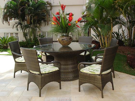 Conjunto mesa Redonda com 6 cadeiras