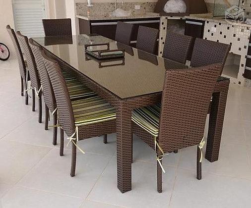 Conjunto mesa com 10 cadeiras