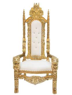 Lion Head Throne Chair (Ivory)