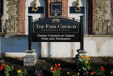Front entrance of The Park Church, United Church of Christ, Open and Affirming