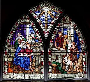 Double stained glass window inside the sanctuary