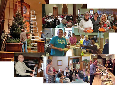 Collage showing Park Church members actively involved