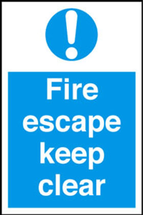 Fire Escape Keep Clear Sign/Sticker