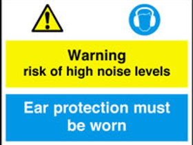 Risk Of High Noise Levels Ear Protect Sign/Sticker
