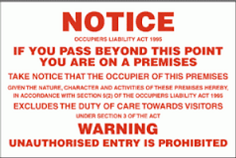 Notice - On A Premises Sign/Sticker