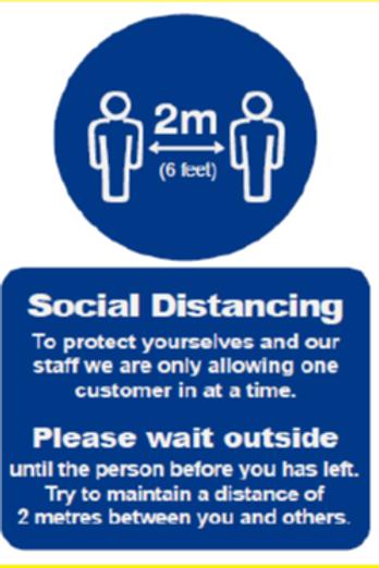 Social Distancing Covid19 Sign