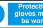 Protective Gloves Must Be Worn Sign/Sticker