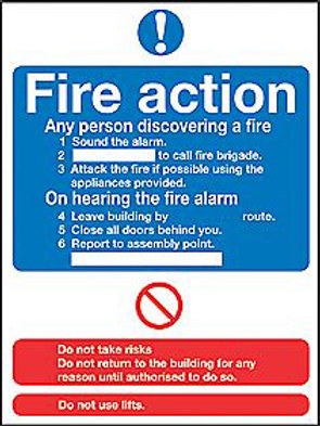 Fire Action Notice Sign/Sticker
