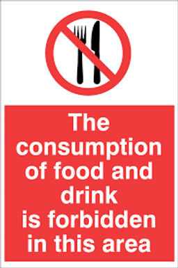 Consumption of food is Prohibited Sign/Sticker