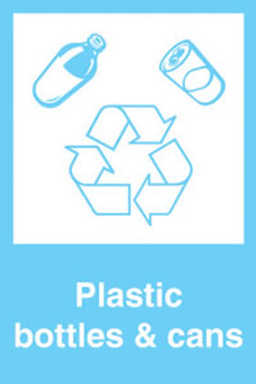 Plastic bottles and cans Sign/Sticker