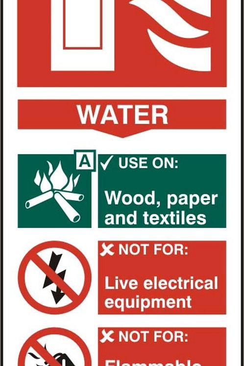 Fire Extinguisher - Water Sign/Sticke