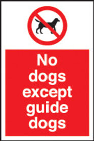 No Dogs Except Guide Dogs Sign/Sticker