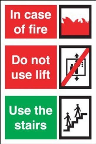 Fire Action - Do Not Use Lift Sign/Sticker