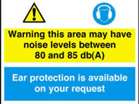 Warning Noise Levels 80-85 Db(A) Sign/Sticker