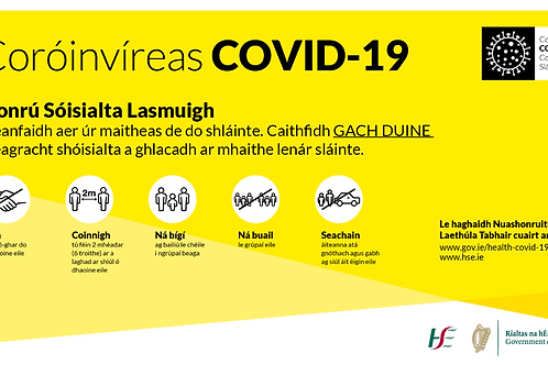 Coronavirus Covid 19 About and How to Help Prevent Safety Sign Irish Ghaeilge