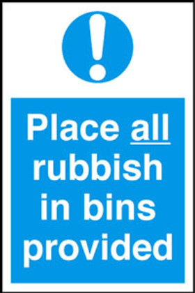 Place All Rubbish In Bins Provided Sign/Sticker
