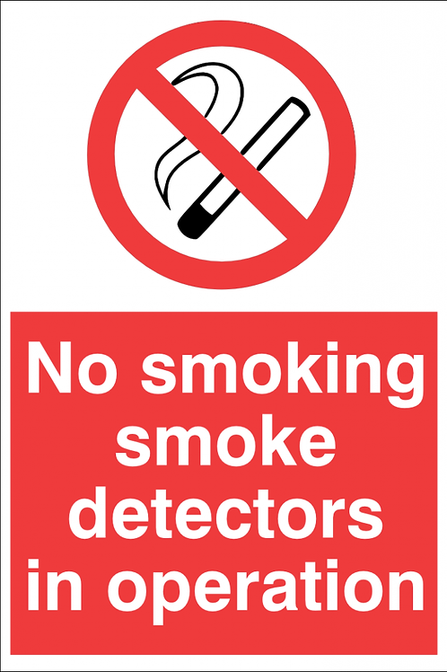 No Smoking Detectors In Operation Sign/Sticker