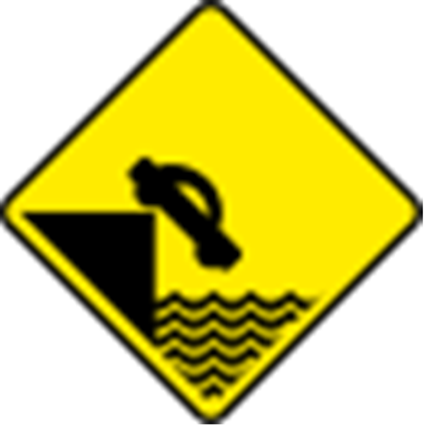 Water Danger for Cars (docks, lakes, canals) Sign