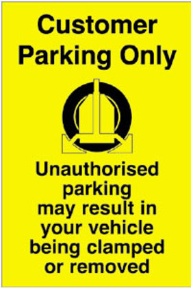 Customer Parking Only Sign/Sticker