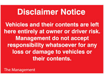 Disclaimer Notice - Vehicles Sign/Sticker
