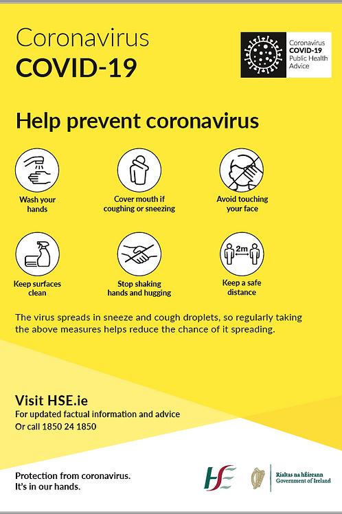 Coronavirus Covid 19 Help Prevent Sign