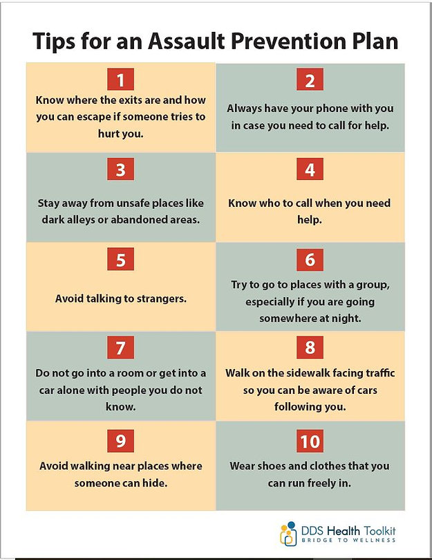 "Poster screenshot: ""Tips for an Assault Prevention Plan"" with 10 tips"