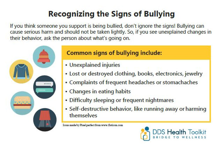 "Handout screenshot: ""Recognizing the Signs of Bullying"" with common signs listed"