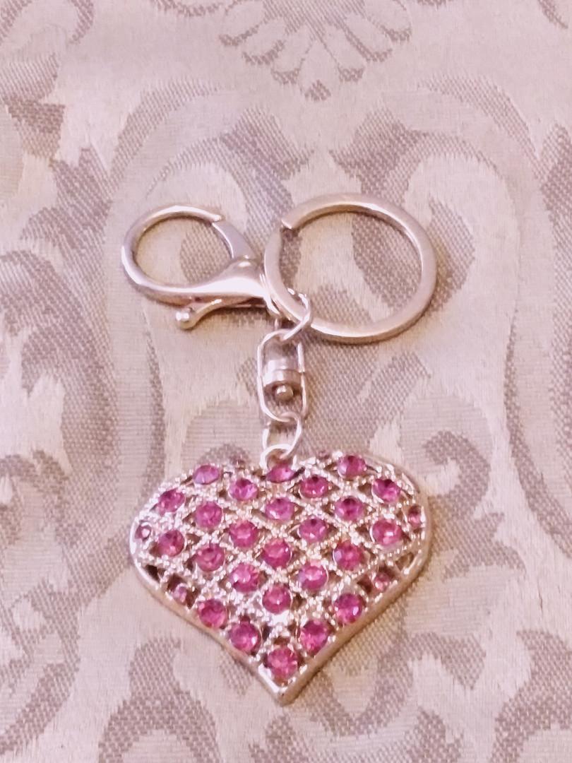 Golden Heart With Fuschia Sparkles