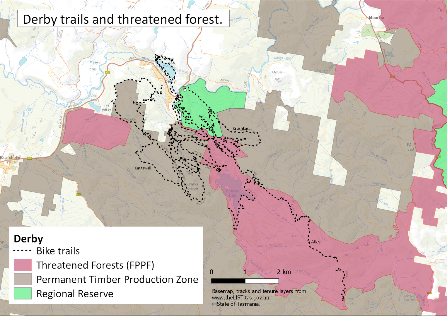Blue Derby threatened forests